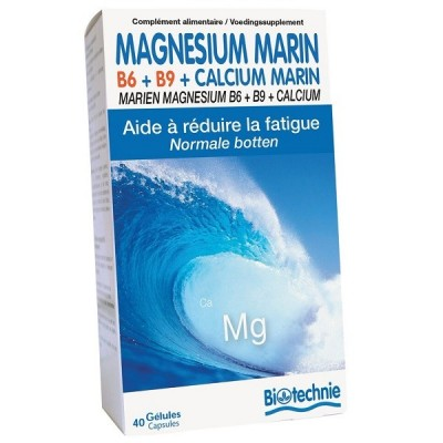 Magnésium Marin B6+B9+Calcium Marin 40 gélules